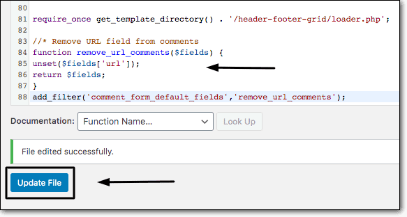 Adding-code-in-functions.php-file-to-disable-URL-in-comments