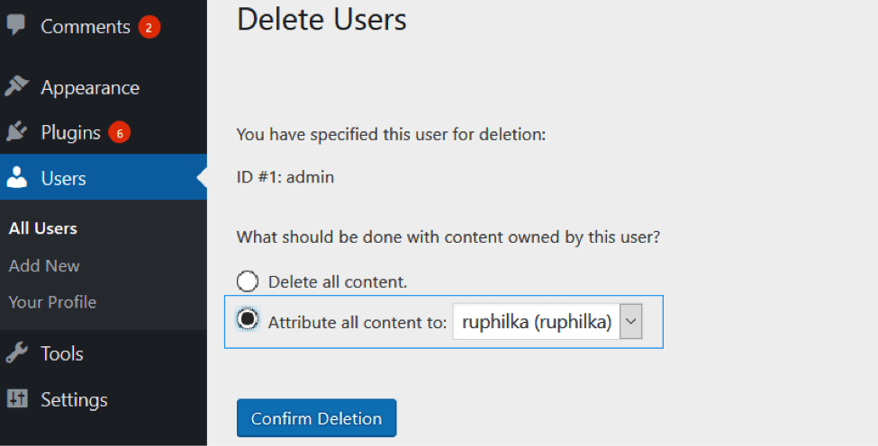 change-wordpress-username-deleteuser