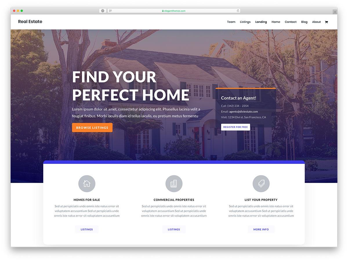 Best Real Estate WordPress Themes - Divi Real Estate