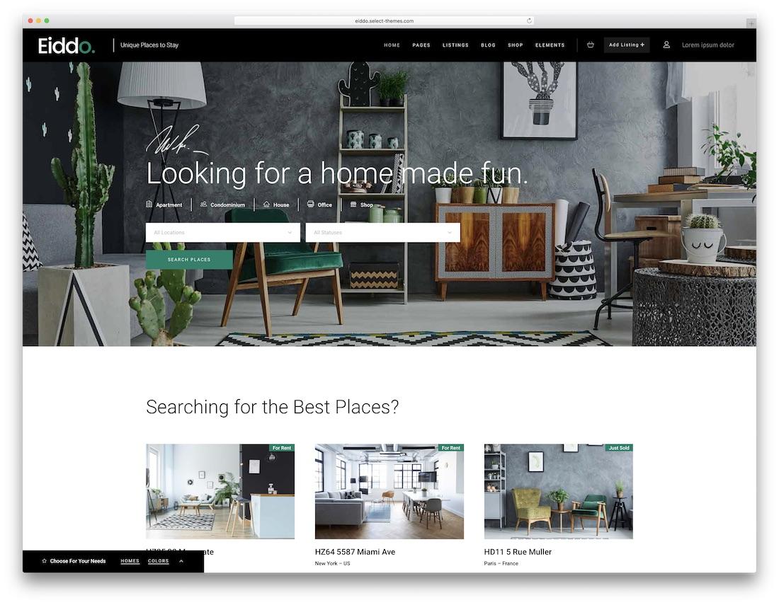 Best Real Estate WordPress Themes - Eiddo