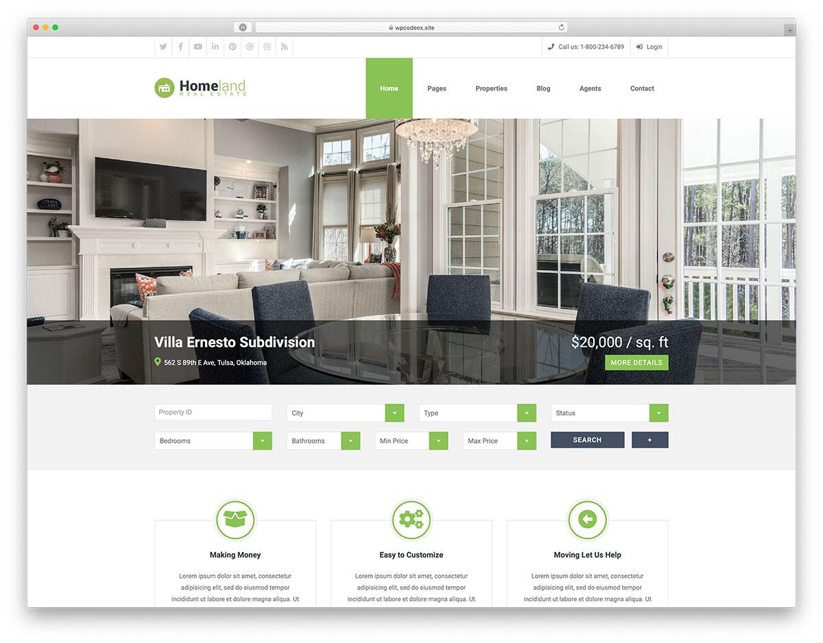 Best Real Estate WordPress Themes - Homeland