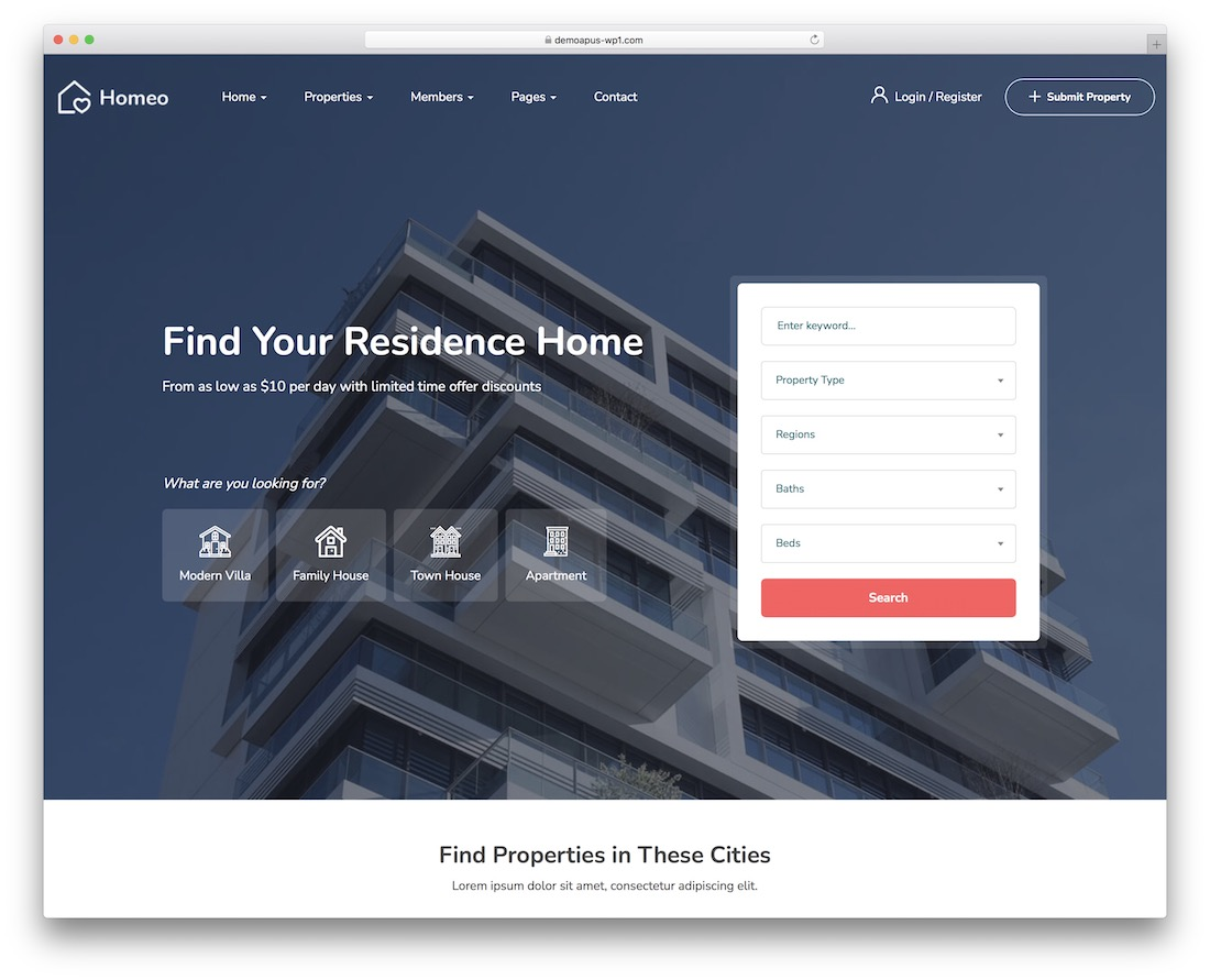 Best Real Estate WordPress Themes - Homeo
