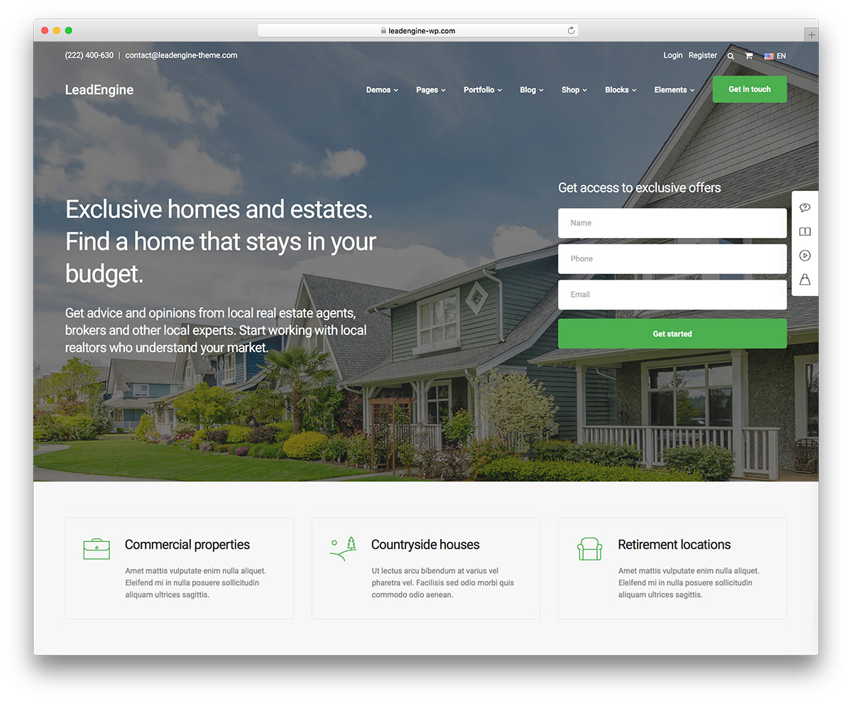 Best Real Estate WordPress Themes - LeadEngine