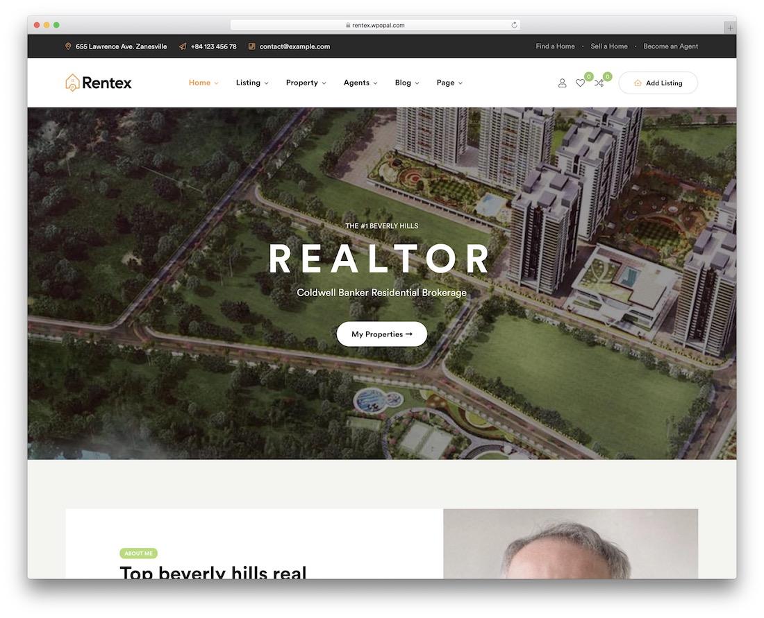 Best Real Estate WordPress Themes - Rentex