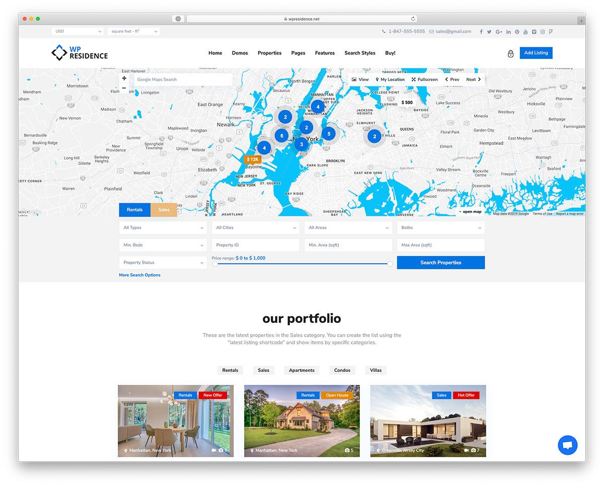 Best Real Estate WordPress Themes - WP Residence