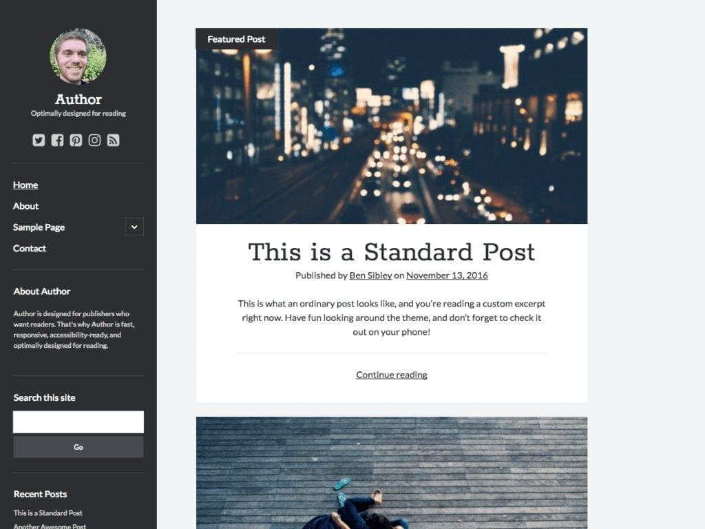 Free WordPress Blog Theme - Author