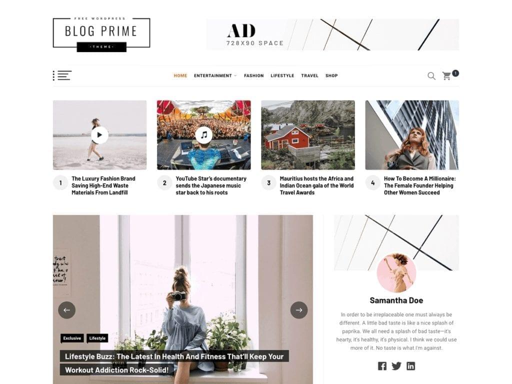 Free WordPress Blog Theme - Blog Prime