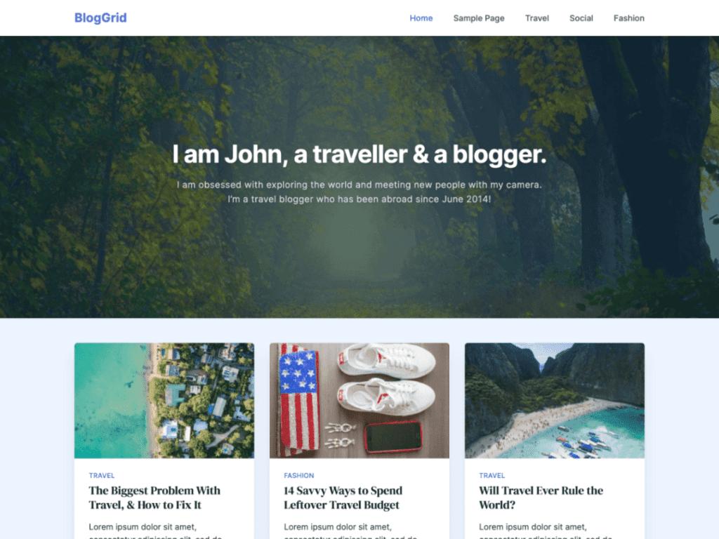 Free WordPress Blog Theme - BlogGrid