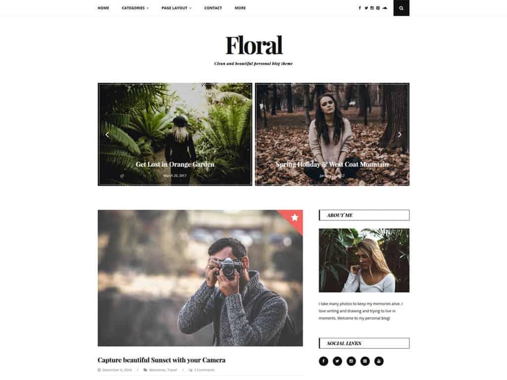 Free WordPress Blog Theme - Floral Lite