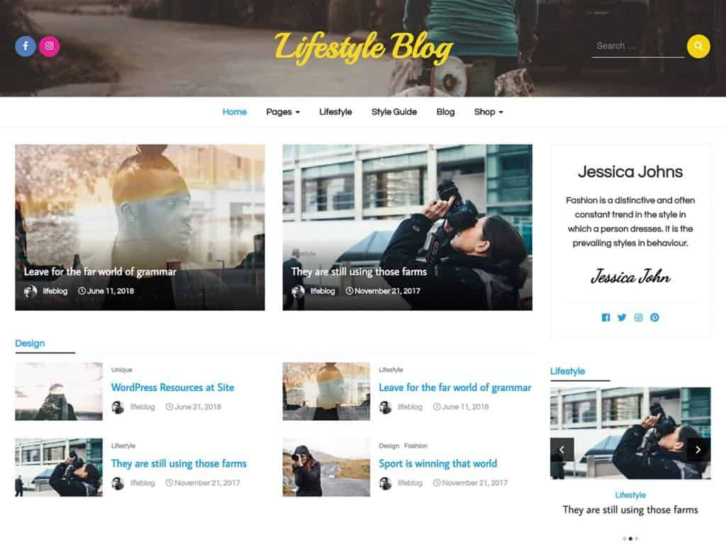 Free WordPress Blog Theme - LifeStyle Blog