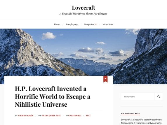 Free WordPress Blog Theme - Lovecraft