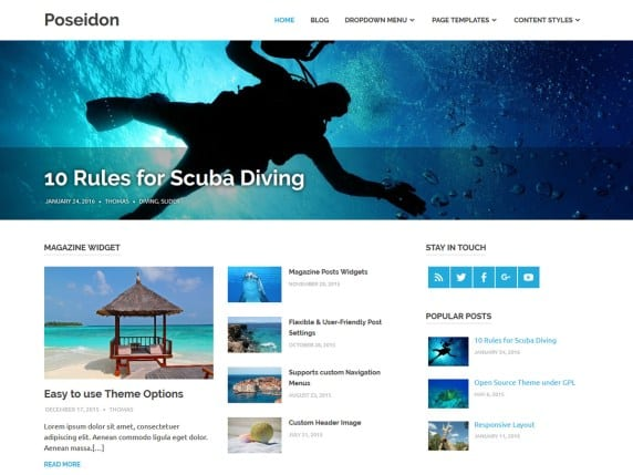 Free WordPress Blog Theme - Poseidon