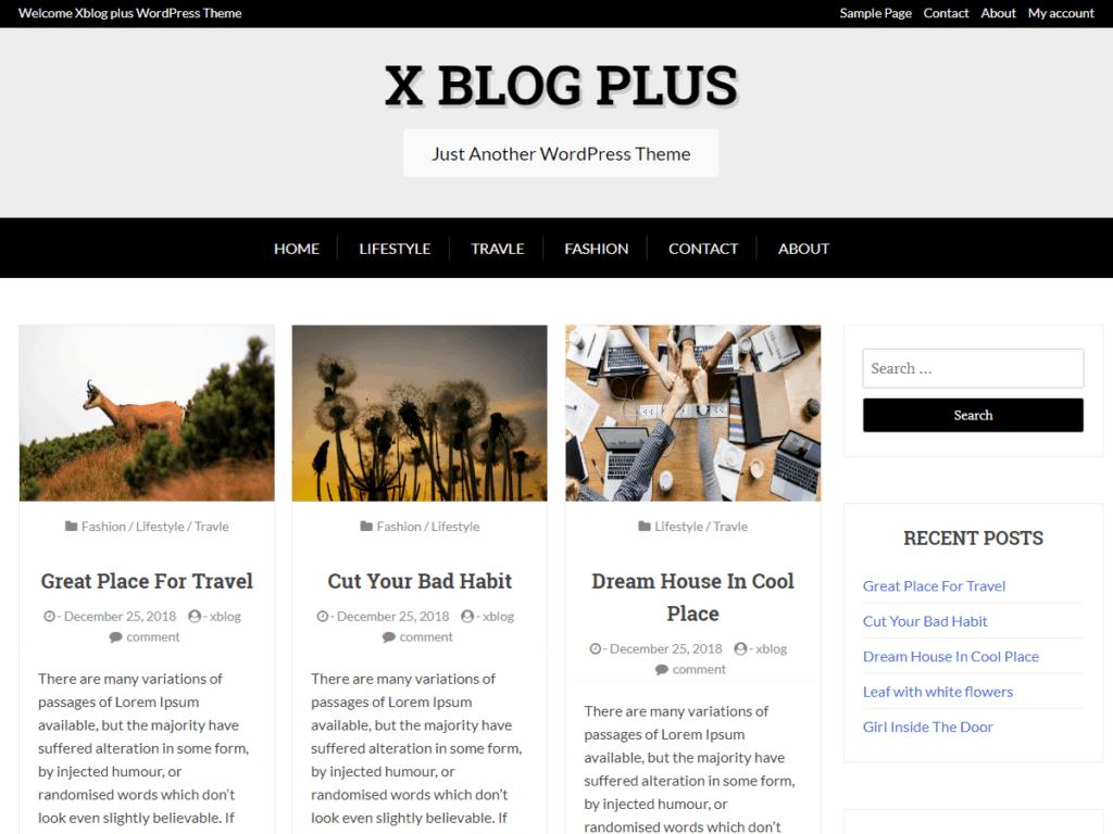 Free WordPress Blog Theme - X Blog Plus