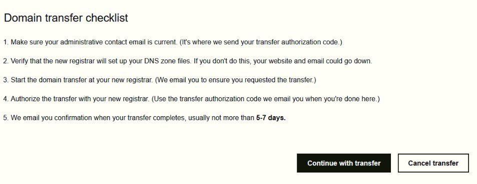 domain transfer checklist