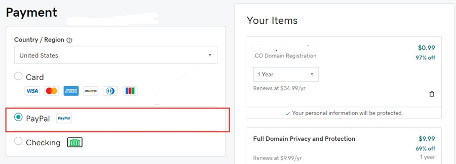 godaddy pay with paypal